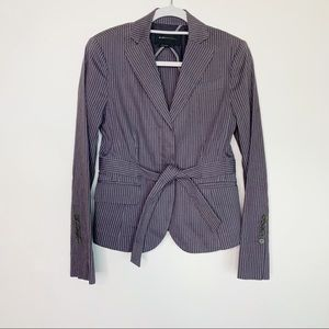 BCBGMaxazria Linen Blend Tie Waist Striped Blazer